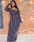 Stripe Slash Neck Full Sleeve Maxi Dress OJS-9055