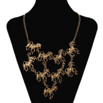 Wholesale Horses Running Shap Exaggerated Necklace
