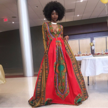 African Print Deep V Dashiki Maxi Dress SC-229