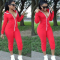 Red Hooded Front Zipper Full Sleeve Slim Jumpsuit YN-9041