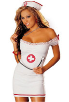 White Off the Shoulder Nurse Dress FQQ-0495