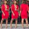 Red Deep V Neck Tassel Bodycon Dress YSF-195
