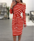 Red Long Sleeves Striped Midi Dress WY6390