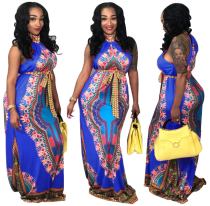 Printed Sleeveless Dashikis Long Dress Blue TE-3465