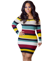 Colorful Striped Off Shoulder Bodycon Dress AL-7531