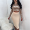 Golden Sequined Lace-up Crop Top and Midi Skirts 2 Piece Sets BT-171