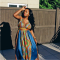 African Strappy Backless Blue Dashiki Maxi Dress CY-1319