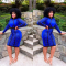 Blue Long Sleeve Bodycon Dress OMR-9321