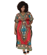 Red African Print V Neck Dashiki Dress CY-1558