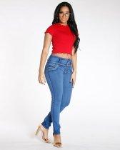 Red O-Neck Short Sleeve Fashion Slim Tees YM-9089