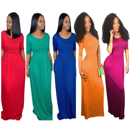 Solid Color High Waist Slim Maxi Dresses TR-905