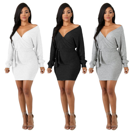 Long Sleeve V Neck Backless Mini Bodycon Dress MN-3011