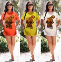 Fashion Print O-Neck Short Sleeve T Shirts HM-6080