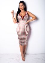 Plaid Print Sleeveless Bodycon Tank Dresses MN-3031