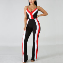 Spaghrtti Strap Sexy Striped Jumpsuit MN-3026