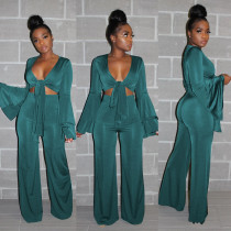 Solid Flare Sleeve Wide Leg Pants Two Piece Sets YD-8089
