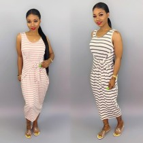 Casual Striped Sleeveless Loose Maxi Dresses BS-1062