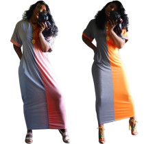 Plus Size Color Block Short Sleeve Maxi Dresses YH-5044