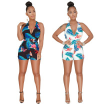Sexy Floral Print Deep V Neck Halter Rompers MOS-755