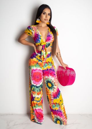 Sexy Printed Deep V Tie Up Two Piece Pant Sets LQ-5060