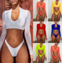 Sexy Mesh 2pcs Bikini Set Long Sleeve Swimsuit MJ-127