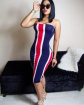 Striped Sexy Strapless Bodycon Wrap Midi Dresses BLX-7014