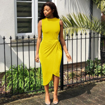 Yellow Sleeveless Irregualr High Low Midi Dress LDS-3126