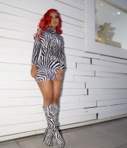 Zebra Print Long Sleeve Mini Bodycon Dresses MEI-9003