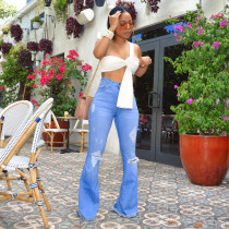 Denim Holes Ripped Jeans Slim Long Flare Pants MA-207