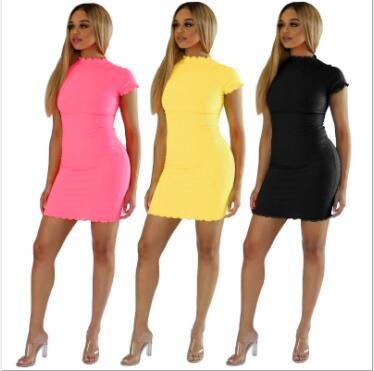 Solid Short Sleeve Round Neck Slim Mini Dresses YF-9399