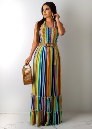 Sexy Striped Halter Backless Long Maxi Dresses SHD-9143