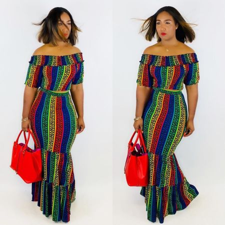 Sexy Printed Slash Neck Crop Top Maxi Skirt 2 Piece Set BLX-7325