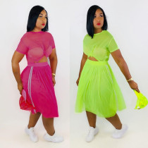 Sexy Mesh See Through Short Sleeve Midi Skirt 2 Piece Set DAI-8162