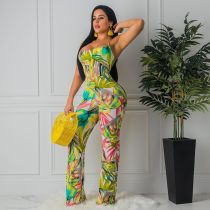 Floral Print Sexy Crisscross Backless Wide Leg Jumpsuits MIL-033