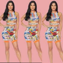 Cartoon Print Sleeveless Top And Shorts Two Piece Sets OJS-9116