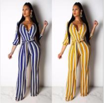 Striped Deep V Three Quarter Sleeve Sashes Long Jumpsuits AIL-035