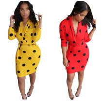 Dot Print Deep V Neck Long Sleeve Bodycon Dresses AIL-026