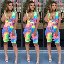 Tie Dye Print Deep V Sleeveless Sashes Half Length Jumpsuit CHY-1164