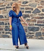 Sexy Denim V Neck Belted Wide Leg Jeans Jumpsuits MOF-5096