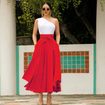 Solid High Waist Big Swing Long Skirts LQ-5072