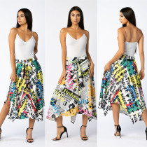 Letter Newspaper Print High Waist Irregular Midi Skirt OJS-9120