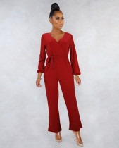 Solid Color V Neck Long Sleeve Sashes Jumpsuits MEI-9031