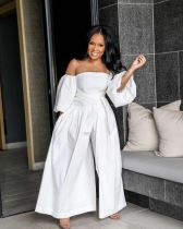 Plus Size White Slash Neck Wide Leg Jumpsuits OD-8297