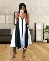 Black And White Striped Spaghetti Strap Wide Leg Jumpsuit YSF-290