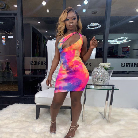 Tie Dye Print Sexy Cut Out Off Shoulder Bodycon Club Dress SH-3614