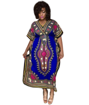 Blue African Print V Neck Dashiki Dress CY1558