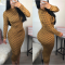 Geometric Printed Long Sleeve Bodycon Midi Dress CY1650