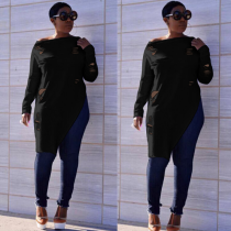 Black Plus Size Hole Long Sleeve Irregular Tops CQ5126