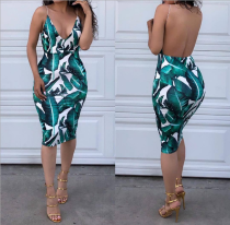 Green Printing Deep V Neck Backless Dress MOY5008