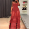 Red Mesh Ruffle Strap Long Party Dress AL7577